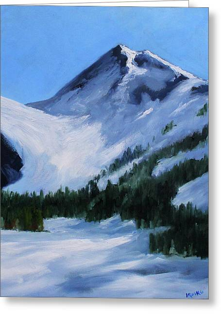 Greeting Card featuring the painting Mount Baker Glacier by Nancy Merkle
