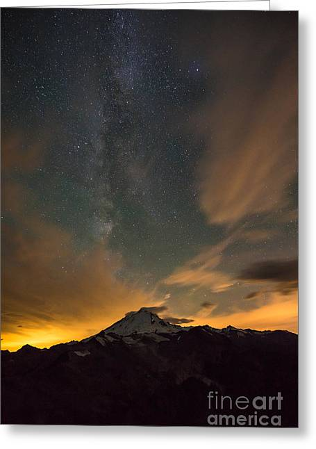 Mount Baker Milky Way Around Midnight Greeting Card by Mike Reid