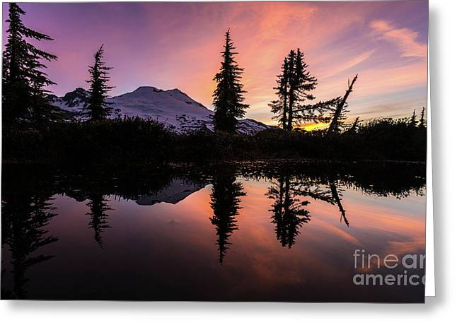 Mount Baker Sunrise Reflection Greeting Card by Mike Reid