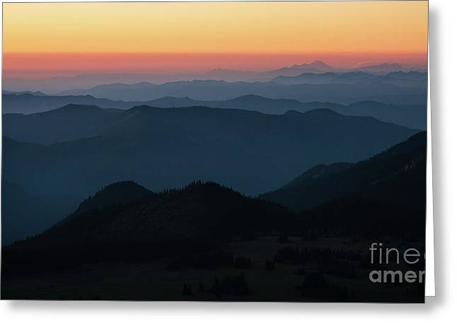 Mount Baker Sunset Landscape Layers Greeting Card by Mike Reid