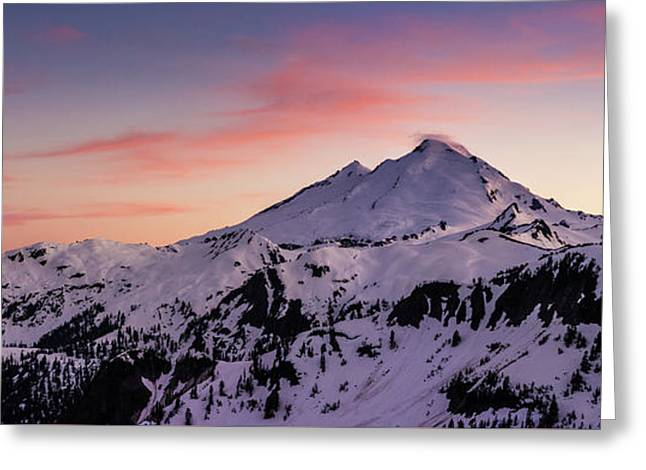 Mount Baker Sunset Panorama Greeting Card by Mike Reid