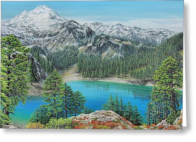 Greeting Card featuring the painting Mount Baker Wilderness by Jane Girardot