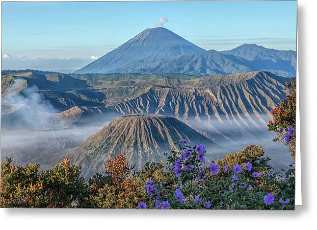 Mount Bromo In Clouds - Java Greeting Card