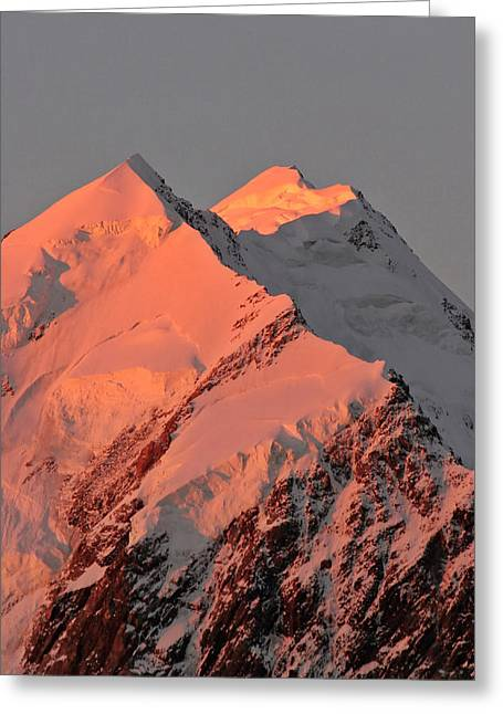 Mount Cook Range On South Island In New Zealand Greeting Card by Mark Duffy
