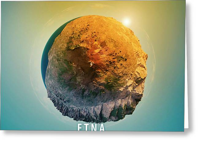 Mount Etna 3d Little Planet 360-degree Sphere Panorama Greeting Card by Frank Ramspott