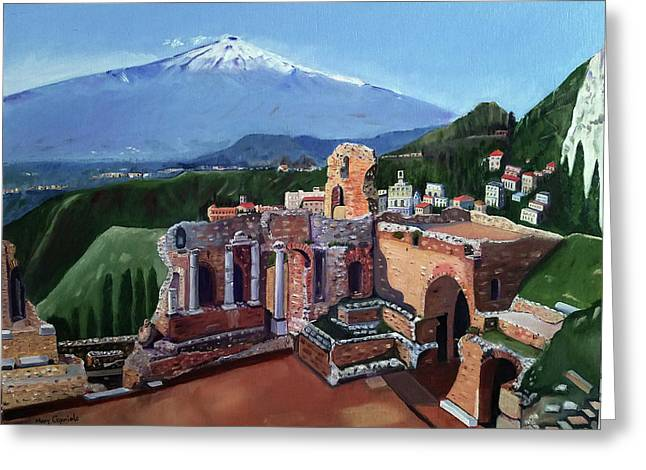 Mount Etna And Greek Theater In Taormina Sicily Greeting Card