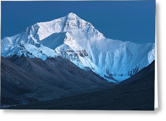 Mount Everest At Blue Hour, Rongbuk, 2007 Greeting Card