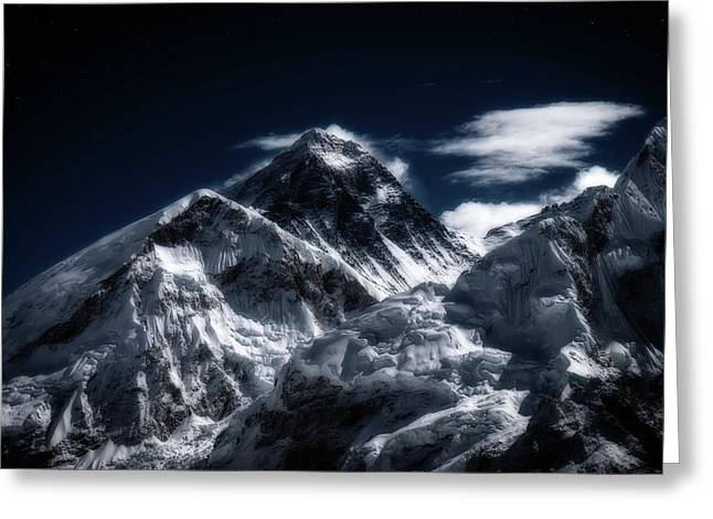 Mount Everest In Moonlight Greeting Card