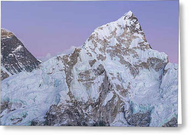 Mount Everest Lhotse And Ama Dablam Just After Sunset Panorama Greeting Card