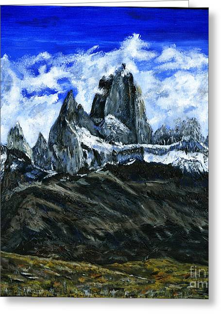 Mount Fitz Roy Painting Greeting Card