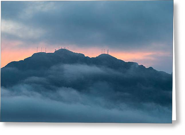 Mount Franklin Stormy Winter Sunset Pano Greeting Card
