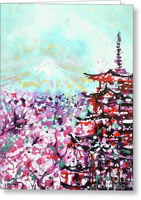 Greeting Card featuring the painting Mount Fuji And The Chureito Pagoda In Spring by Zaira Dzhaubaeva