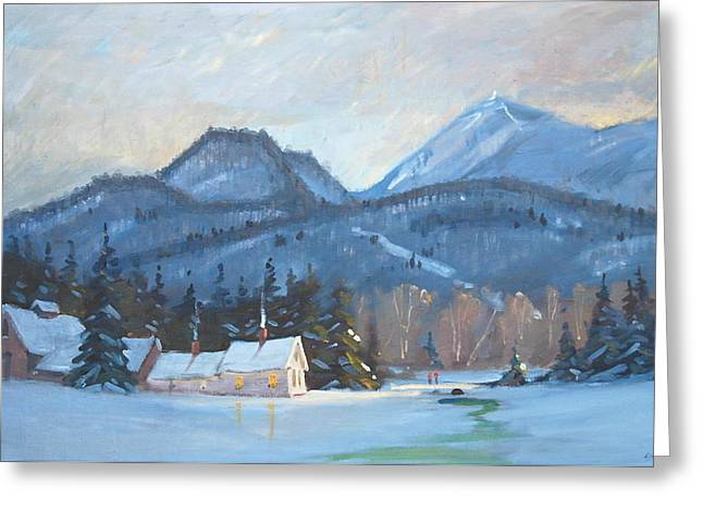 Greeting Card featuring the painting Mount Greylock by Len Stomski