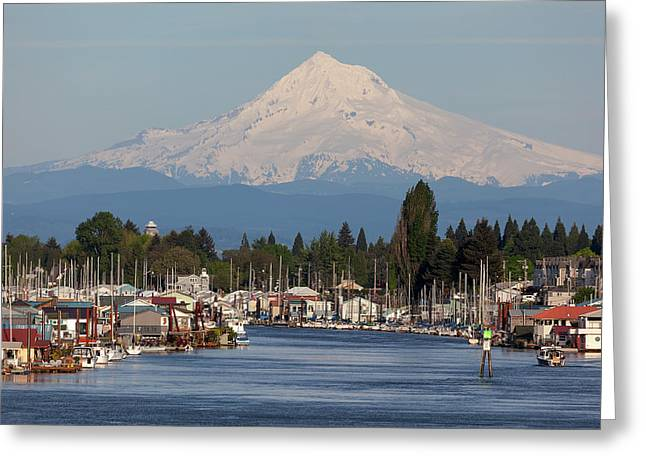 Mount Hood And Columbia River House Boats Greeting Card