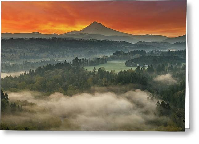 Mount Hood And Sandy River Valley Sunrise Greeting Card by David Gn
