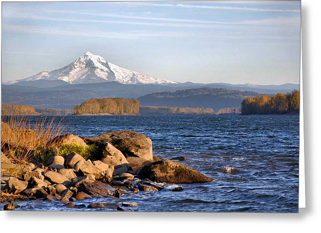 Mount Hood And The Columbia River Greeting Card by Jim Walls PhotoArtist