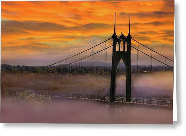 Mount Hood By St Johns Bridge During Sunrise Greeting Card