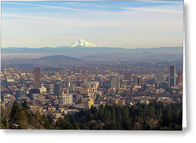 Mount Hood Over City Of Portland Oregon Greeting Card by David Gn