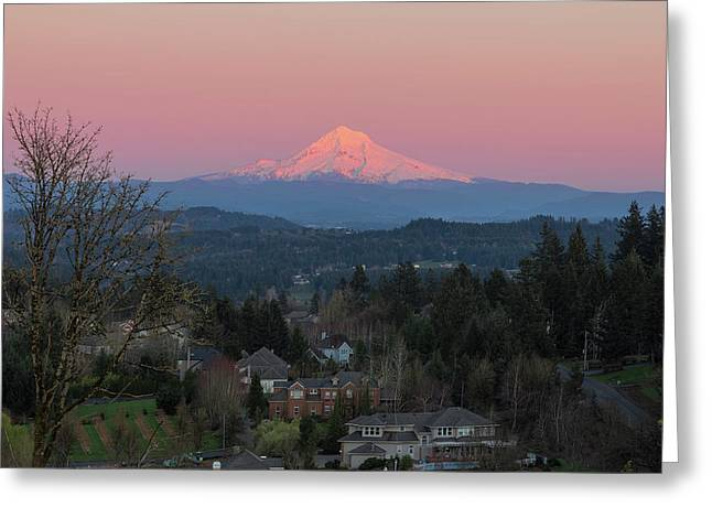 Mount Hood Over Happy Valley Oregon Greeting Card