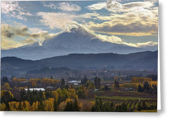 Mount Hood Over Hood River Valley In Fall Greeting Card