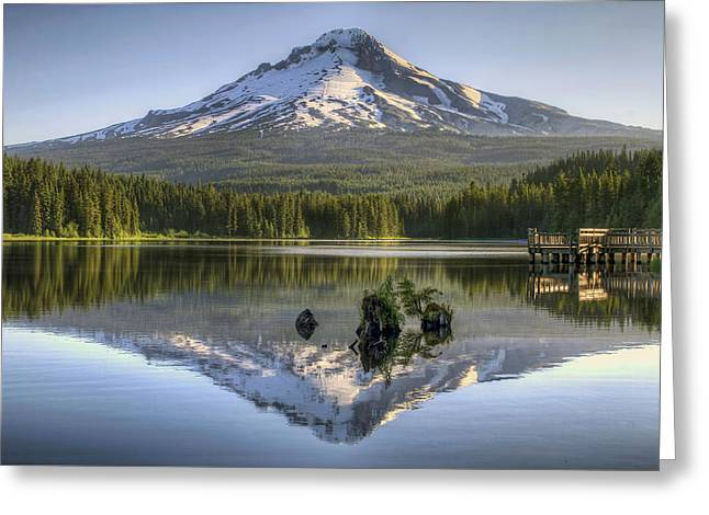 Mount Hood Reflection On Trillium Lake Greeting Card by David Gn