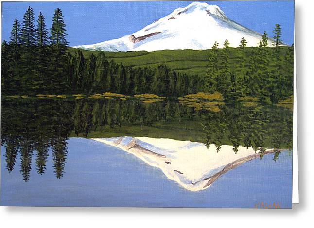 Greeting Card featuring the painting Mount Hood-trillium Lake by Frederic Kohli