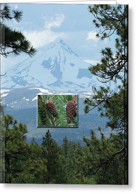 Mount Jefferson With Pines Greeting Card