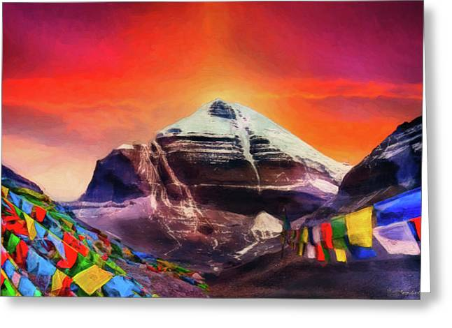 Mount Kailash - The Pillar Of The World Greeting Card