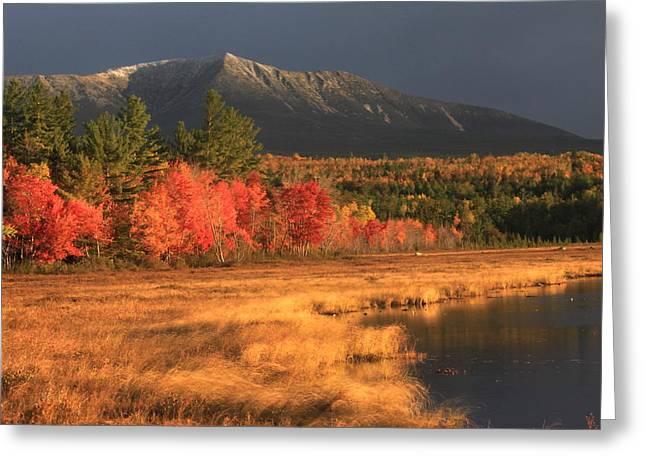 Mount Katahdin Snow Foliage Greeting Card by John Burk