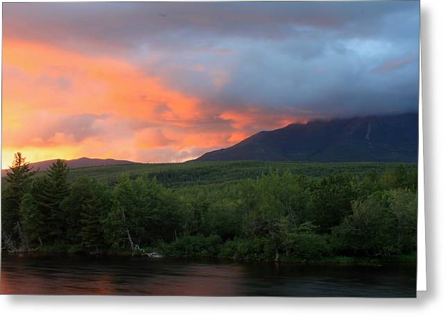 Mount Katahdin Sunset Greeting Card by John Burk