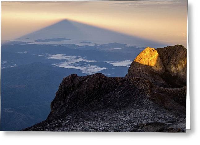Mount Kinabalu Sunrise Greeting Card by Dave Bowman