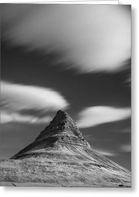 Mount Kirkjufell In Iceland Under The Sky Greeting Card