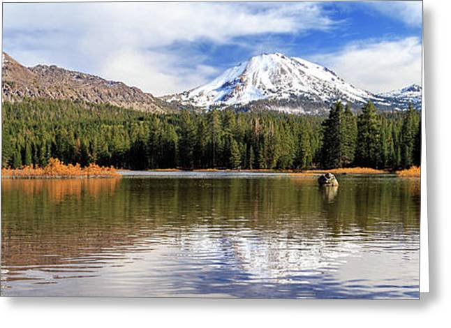 Greeting Card featuring the photograph Mount Lassen Autumn Panorama by James Eddy