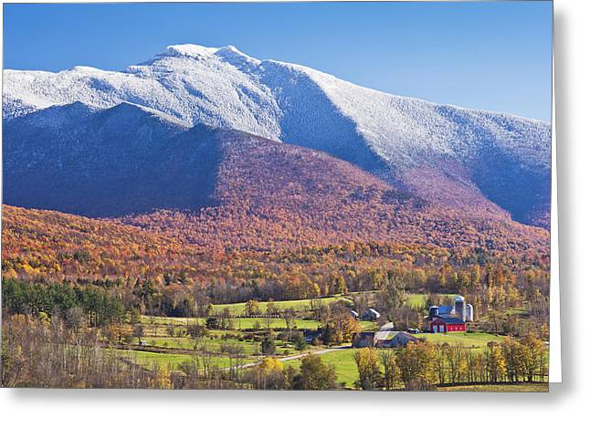 Mount Mansfield Autumn Snowfall Greeting Card