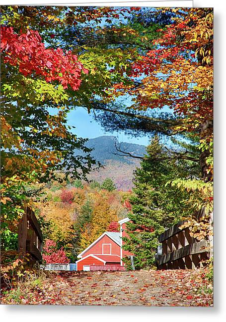 Greeting Card featuring the photograph Mount Mansfield Seen Through Fall Foliage by Jeff Folger
