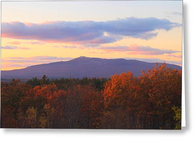 Mount Monadnock Autumn Sunset Greeting Card by John Burk