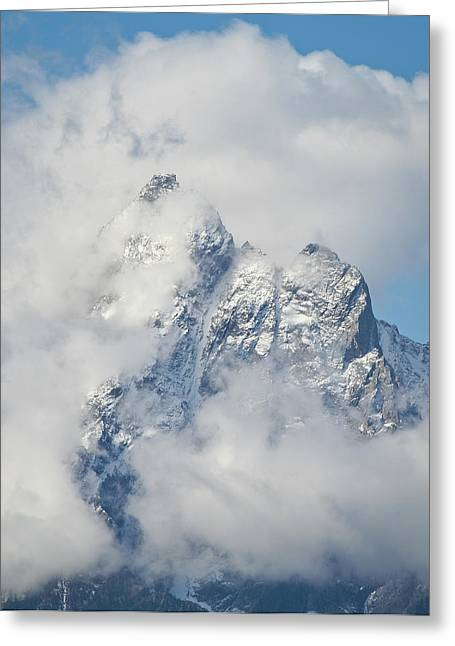 Panoramic Ocean Greeting Cards - Mount Moran in Clouds Greeting Card by Brent Parks