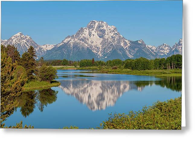 Mount Moran On Snake River Landscape Greeting Card