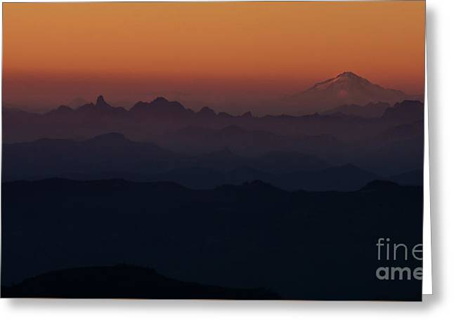 Mount Pilchuck Sunset Layers Greeting Card by Mike Reid