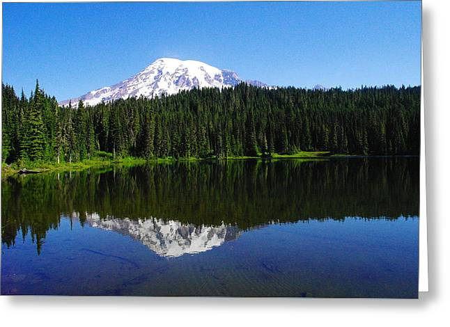 Mount Rainer Reflecting Into Reflection Lake Greeting Card by Jeff Swan