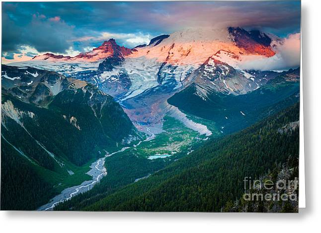Mount Rainier And White River Greeting Card by Inge Johnsson
