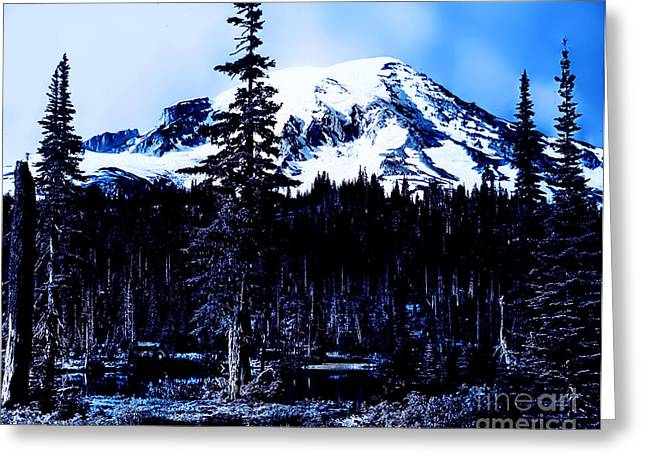 Greeting Card featuring the photograph Mount Rainier Blue... by Eddie Eastwood