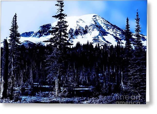 Mount Rainier Blue... Greeting Card by Eddie Eastwood