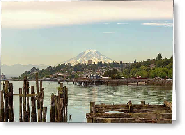 Mount Rainier From City Of Tacoma Washington Waterfront Greeting Card