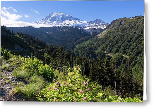 Mount Rainier From Scenic Viewpoint Greeting Card
