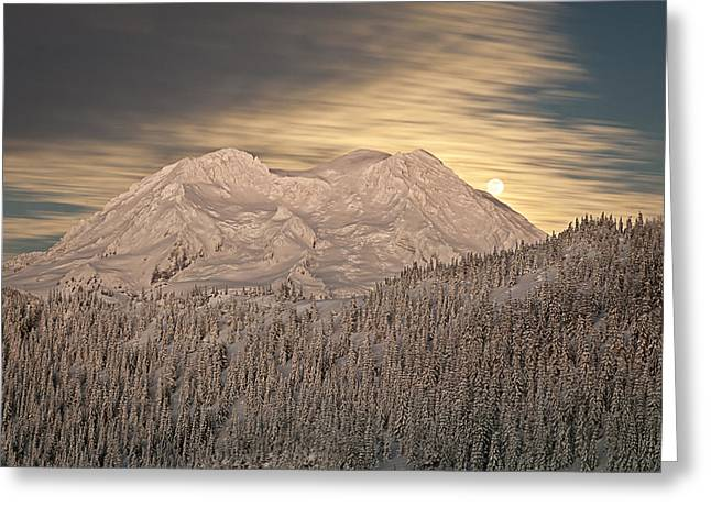 Mount Rainier Full Moonrise Winter Greeting Card by Ed Book