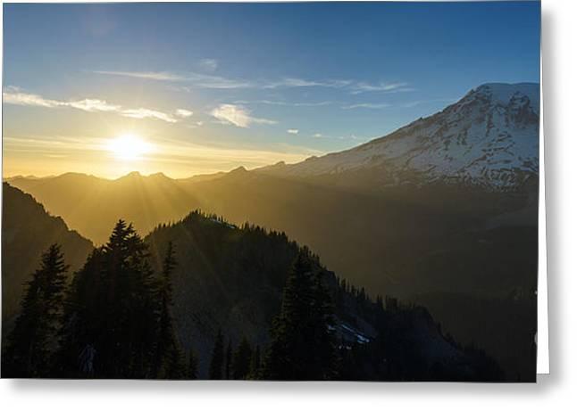 Mount Rainier Golden Dusk Light Greeting Card