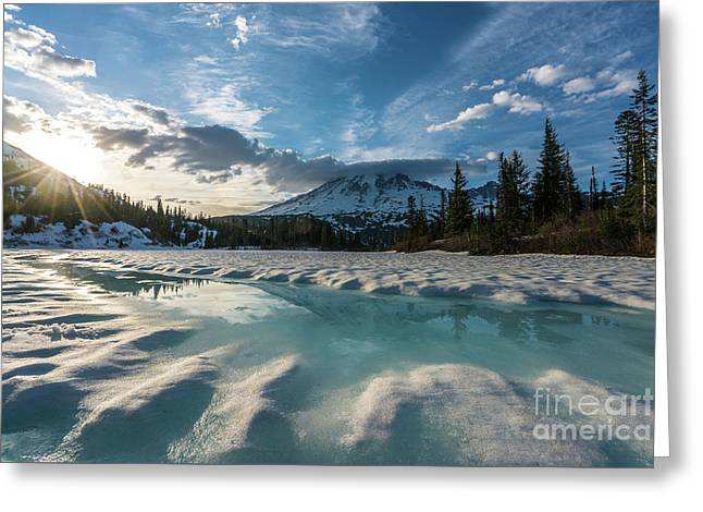Mount Rainier Icy Lake Reflection Greeting Card