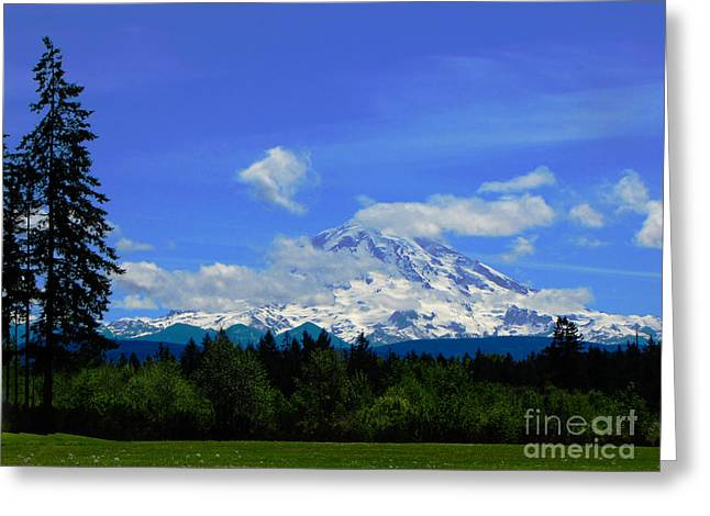 Mount Rainier In The Distance Greeting Card