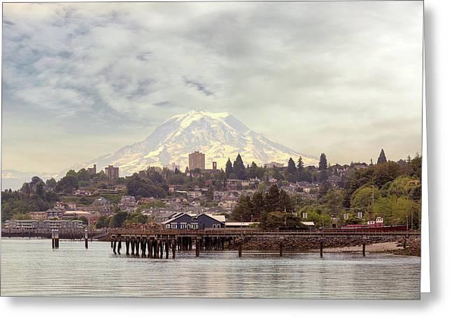Mount Rainier Over City Of Tacoma Washington Greeting Card